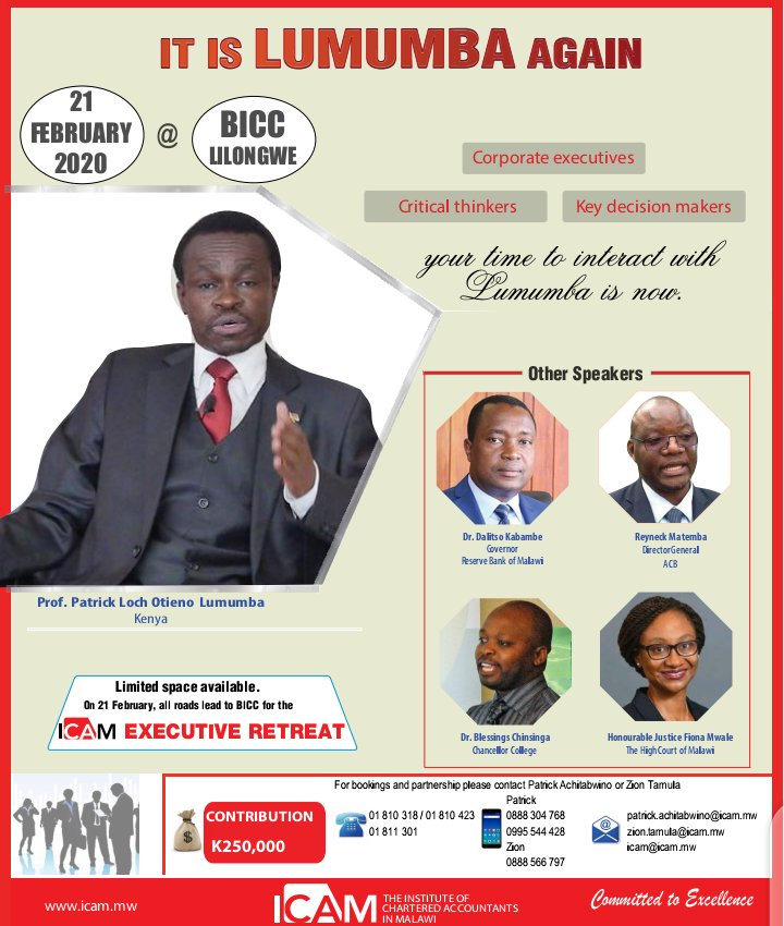 Its Lumumba coming to Malawi to speak back to back with RBM Governor Dalitso Kabambe and others